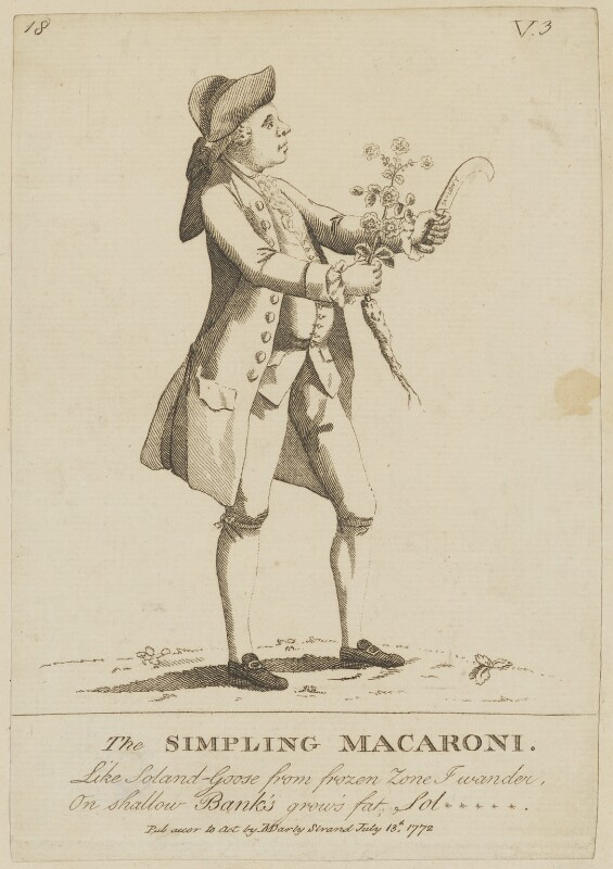 Daniel Charles Solander ('The Simpling Macaroni'), published by Matthew or Matthias Darly, published 13 July 1772 - NPG D6806 - © National Portrait Gallery, London