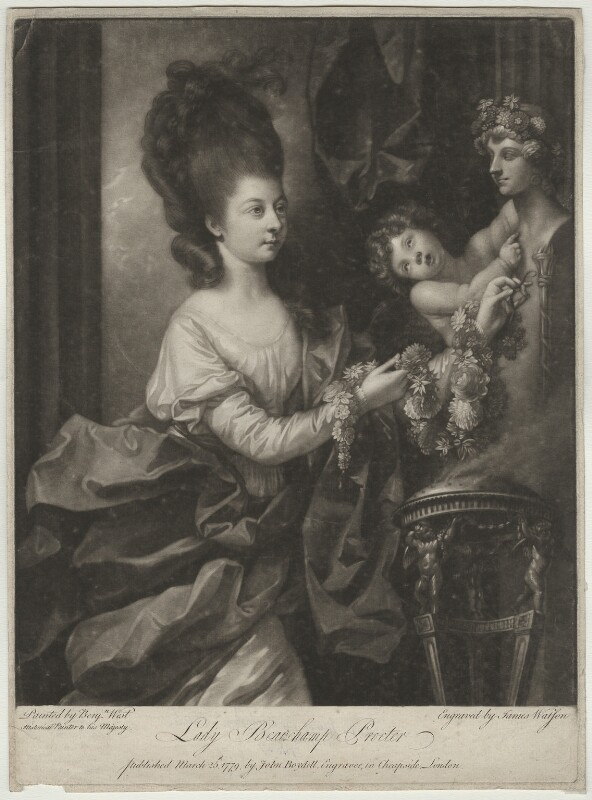Mary (née Palmer), Lady Beauchamp-Procter, by James Watson, after  Benjamin West, published 1779 - NPG D684 - © National Portrait Gallery, London