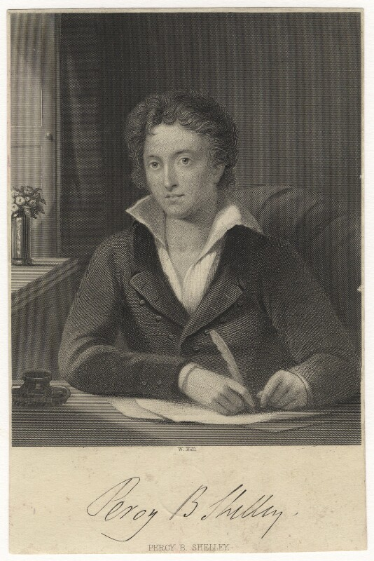 Percy Bysshe Shelley, by William Holl Sr, or by  William Holl Jr, after  Amelia Curran, (1819) - NPG D6851 - © National Portrait Gallery, London