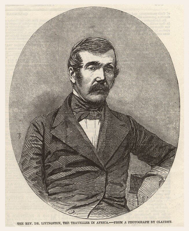 David Livingstone, published by Illustrated London News, after an intermediary drawing by  Thomas Dewell Scott, after a photograph by  Antoine Claudet, published 27 December 1856 - NPG D6854 - © National Portrait Gallery, London