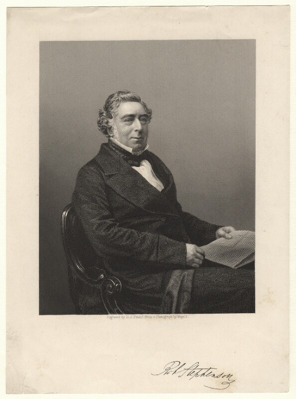 Robert Stephenson, by Daniel John Pound, after a photograph by  John Jabez Edwin Mayall,  - NPG D6864 - © National Portrait Gallery, London