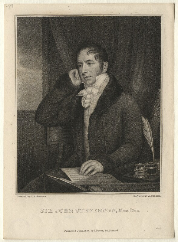 Sir John Andrew Stevenson, by Anthony Cardon, published by  James Power, after  Christina Robertson (née Saunders), published June 1825 - NPG D6866 - © National Portrait Gallery, London