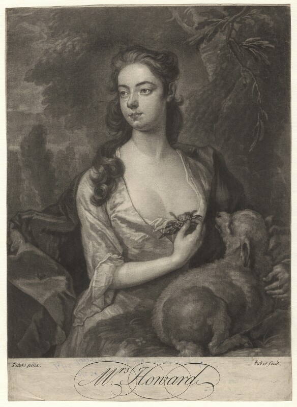 Henrietta Howard (née Hobart), Countess of Suffolk when Mrs Howard, by John Faber Jr, after  J. Peters, circa 1725-1750 - NPG D6902 - © National Portrait Gallery, London