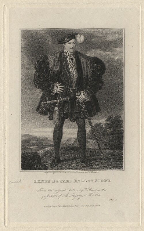 Henry Howard, Earl of Surrey, by Edward Scriven, after a painting attributed to  Hans Holbein the Younger, published 1821 - NPG D6903 - © National Portrait Gallery, London