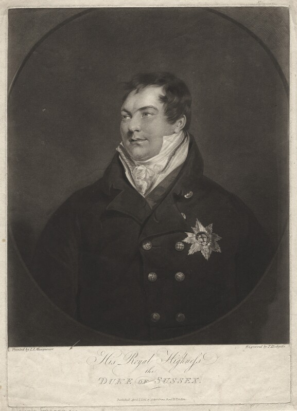 Prince Augustus Frederick, Duke of Sussex, by Thomas Hodgetts, after  John James Masquerier, published 1816 - NPG D6908 - © National Portrait Gallery, London