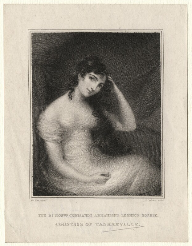 Corisande Armandine, Countess of Tankerville, by John Cochran, after a miniature by  Anne Mee (née Foldsone), published 1833 - NPG D6918 - © National Portrait Gallery, London