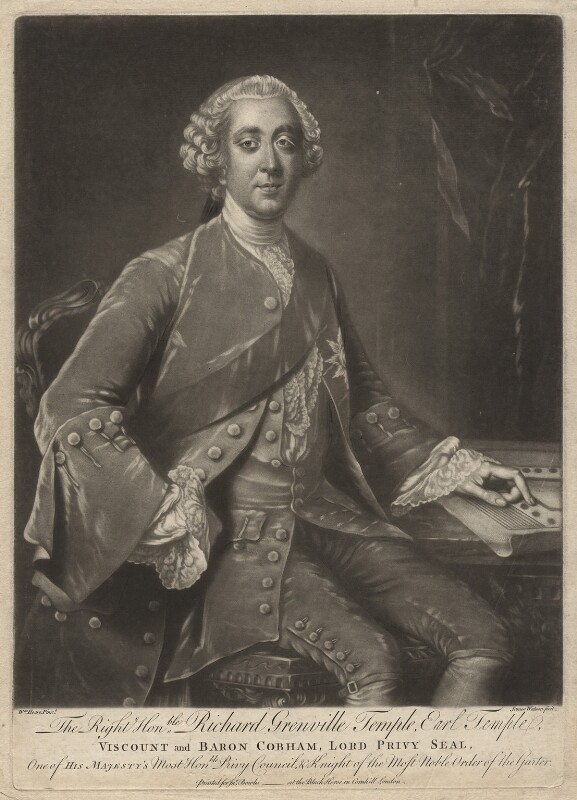 Richard Grenville-Temple, 2nd Earl Temple, by James Watson, published by  John Bowles, after  William Hoare, circa 1760-1761 - NPG D6939 - © National Portrait Gallery, London