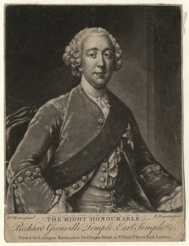 Richard Grenville-Temple, 2nd Earl Temple, by Richard Houston, published by  Carington Bowles, after  William Hoare, circa 1760-1761 - NPG D6941 - © National Portrait Gallery, London