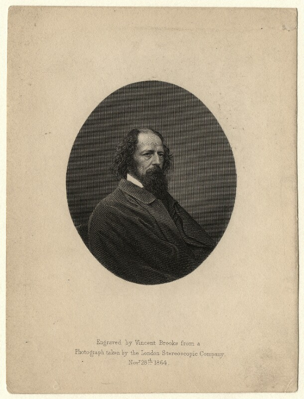 Alfred, Lord Tennyson, by Vincent Brooks, after a photograph by  London Stereoscopic & Photographic Company, (1864) - NPG D6942 - © National Portrait Gallery, London