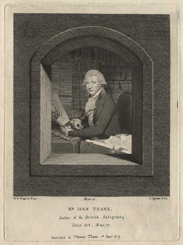 John Thane, by John Ogborne, published by  Thomas Thane, after  William Redmore Bigg, published 1 January 1819 - NPG D6947 - © National Portrait Gallery, London