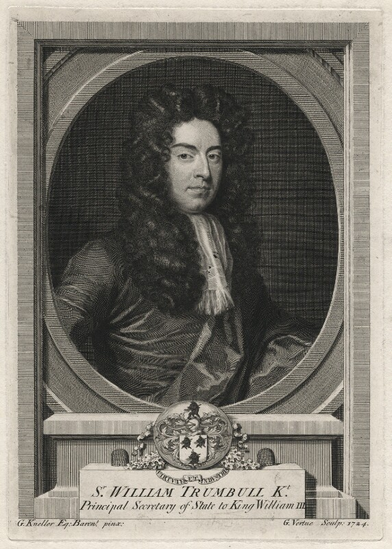 Sir William Trumbull, by George Vertue, after  Sir Godfrey Kneller, Bt, 1724 - NPG D6987 - © National Portrait Gallery, London