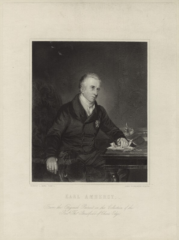 William Pitt Amherst, 1st Earl Amherst of Arracan, by James Posselwhite, after  Herbert Luther Smith, 1845 (1836) - NPG D7000 - © National Portrait Gallery, London