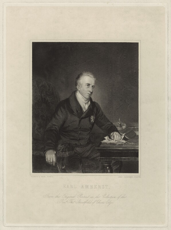 William Pitt Amherst, 1st Earl Amherst of Arracan, by James Posselwhite, after  Herbert Luther Smith, 1845 (1836) - NPG D7001 - © National Portrait Gallery, London