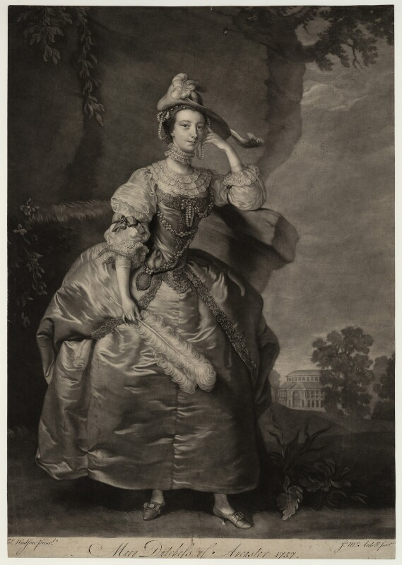 Mary (née Panton), Duchess of Ancaster, by James Macardell, after  Thomas Hudson, 1757 - NPG D7003 - © National Portrait Gallery, London
