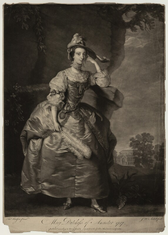 Mary (née Panton), Duchess of Ancaster, by James Macardell, after  Thomas Hudson, 1757 - NPG D7004 - © National Portrait Gallery, London