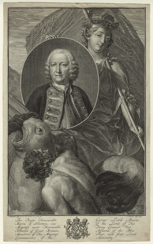 George Anson, 1st Baron Anson, by Jacobus Houbraken, after  J. Wandelaar, (1751) - NPG D7071 - © National Portrait Gallery, London