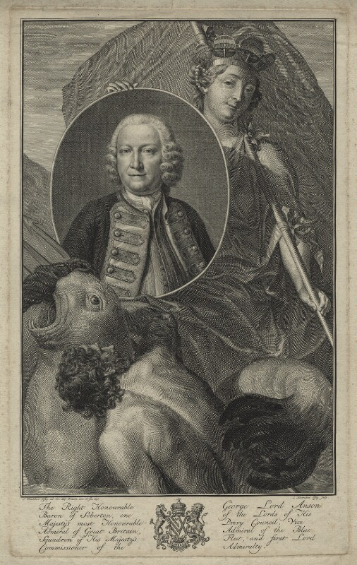 George Anson, 1st Baron Anson, by Jacobus Houbraken, after  J. Wandelaar, (1751) - NPG D7072 - © National Portrait Gallery, London