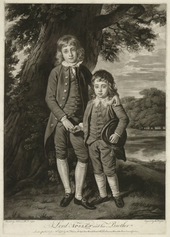 Henry Bathurst, 3rd Earl Bathurst; Apsley Bathurst (when Viscount Apsley and a boy), by Thomas Watson, after  Nathaniel Dance (later Sir Nathaniel Holland, Bt), 1776 (1775) - NPG D7079 - © National Portrait Gallery, London