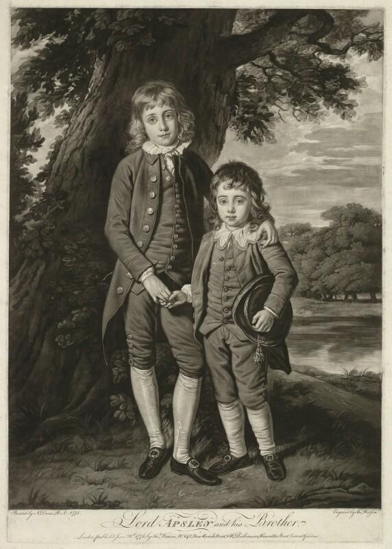 Henry Bathurst, 3rd Earl Bathurst; Apsley Bathurst (when Viscount Apsley and a boy), by Thomas Watson, after  Nathaniel Dance (later Sir Nathaniel Holland, Bt), 1776 (1775) - NPG D7079 - © National Portrait Gallery, London