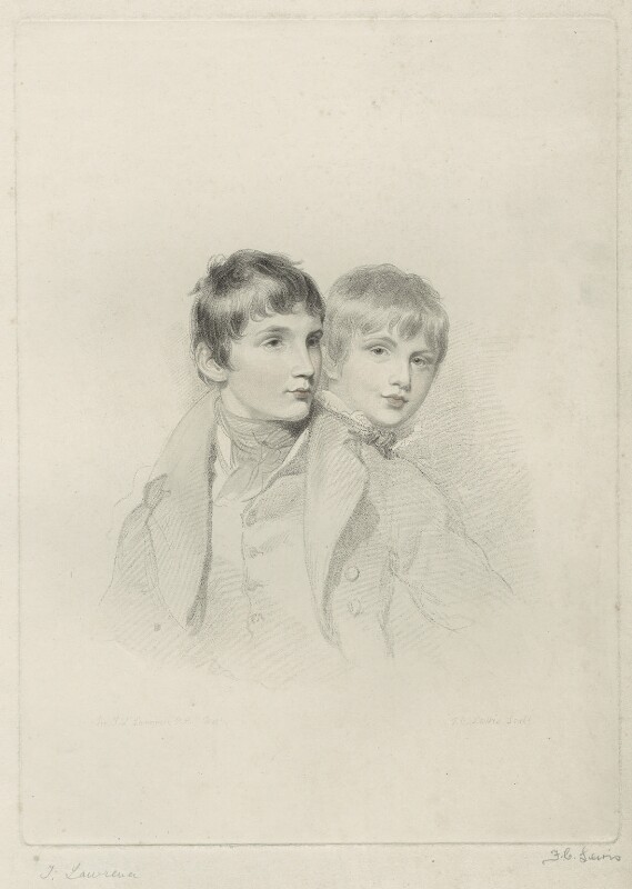 Master Arbuthnot; Master Arbuthnot (when children), by Frederick Christian Lewis Sr, after  Sir Thomas Lawrence, early 19th century - NPG D7080 - © National Portrait Gallery, London