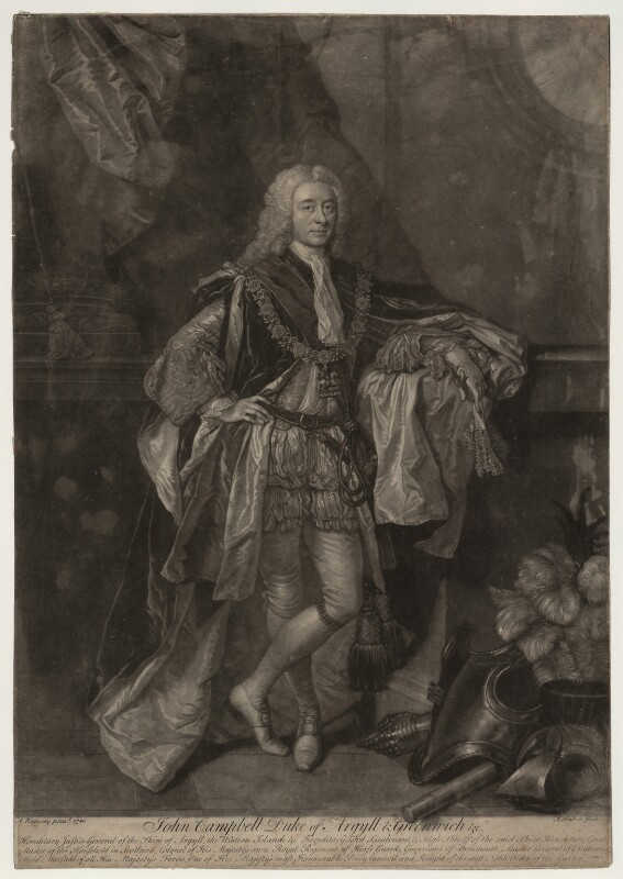 John Campbell, 2nd Duke of Argyll and Greenwich, by John Faber Jr, after  Allan Ramsay, (1740) - NPG D7095 - © National Portrait Gallery, London