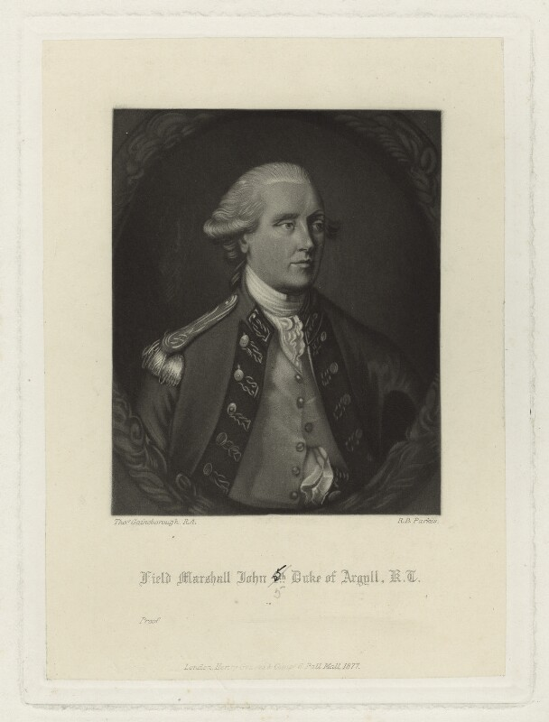 John Campbell, 5th Duke of Argyll, by Robert Bowyer Parkes, after  Thomas Gainsborough, published 1877 - NPG D7099 - © National Portrait Gallery, London