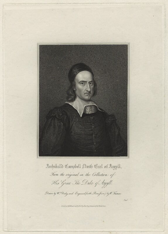 Archibald Campbell, 1st Marquess of Argyll, by Samuel Freeman, after  William Derby, after  David Scougall, published 1826 - NPG D7109 - © National Portrait Gallery, London
