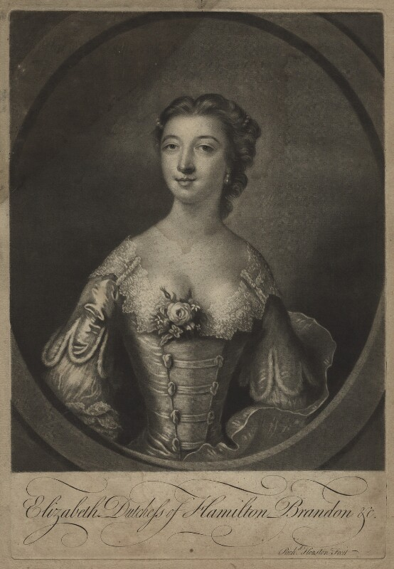 Elizabeth (née Gunning), Baroness Hamilton of Hameldon, by Richard Houston, after  Francis Cotes, (1751) - NPG D7111 - © National Portrait Gallery, London
