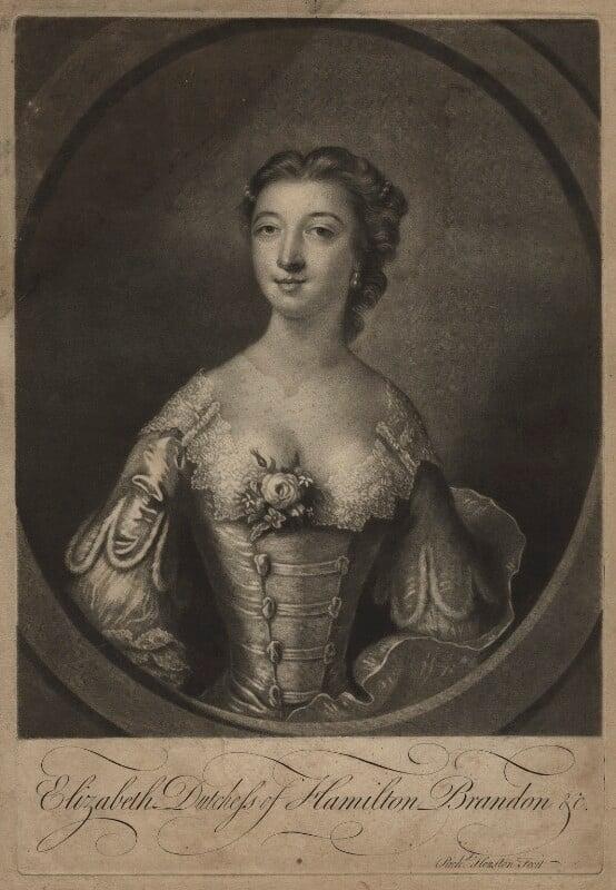 Elizabeth (née Gunning), Baroness Hamilton of Hameldon, by Richard Houston, after  Francis Cotes, (1751) - NPG D7111 - © National Portrait Gallery, London