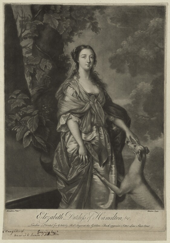 Elizabeth (née Gunning), Baroness Hamilton of Hameldon when Duchess of Hamilton, by Richard Houston, printed for and sold by  Robert Sayer, after  Gavin Hamilton, mid 18th century - NPG D7113 - © National Portrait Gallery, London