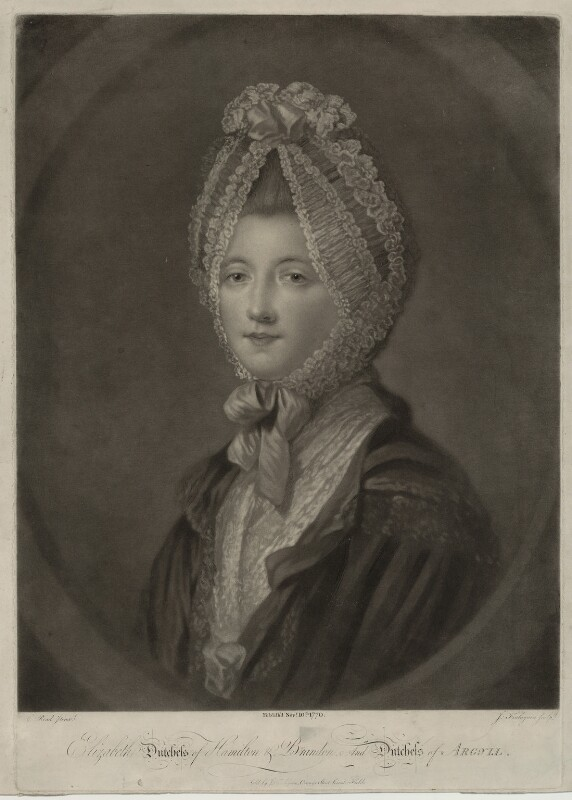 Elizabeth (née Gunning), Baroness Hamilton of Hameldon, by John Finlayson, after  Katharine Read, published 1770 - NPG D7115 - © National Portrait Gallery, London