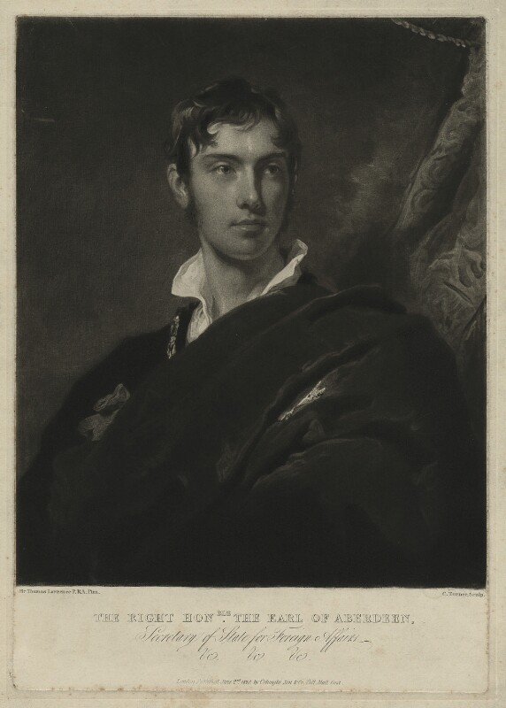 George Hamilton Gordon, 4th Earl of Aberdeen, by Charles Turner, after  Sir Thomas Lawrence, published 1828 - NPG D7137 - © National Portrait Gallery, London