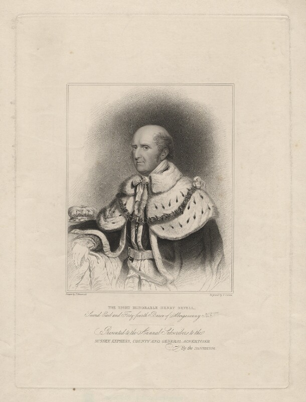 Henry Nevill, 2nd Earl of Abergavenny, by Edward Scriven, after  T. Henwood, early 19th century - NPG D7139 - © National Portrait Gallery, London