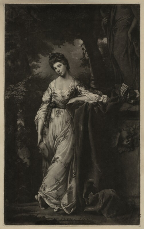 Frances Abington (née Barton) as Thalia, by James Watson, after  Sir Joshua Reynolds, published 1769 - NPG D7153 - © National Portrait Gallery, London