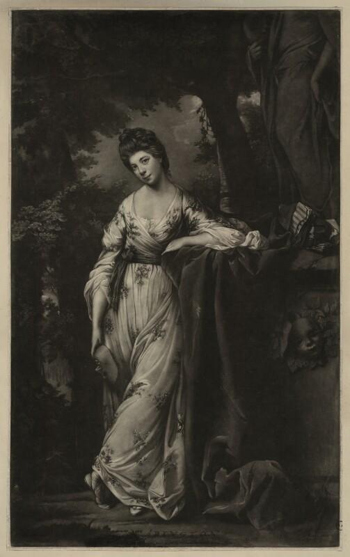 Frances Abington (née Barton) as Thalia, by James Watson, after  Sir Joshua Reynolds, published 1769 - NPG D7153 - © National Portrait Gallery, London