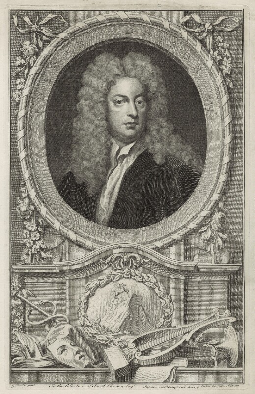 Joseph Addison, by Jacobus Houbraken, after  Sir Godfrey Kneller, Bt, published 1748 - NPG D7173 - © National Portrait Gallery, London