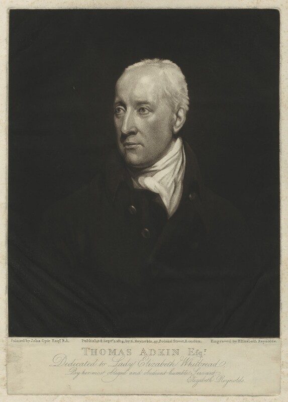 Thomas Adkin, by and published by Elizabeth Walker (née Reynolds), after  John Opie, published 1 September 1814 - NPG D7175 - © National Portrait Gallery, London