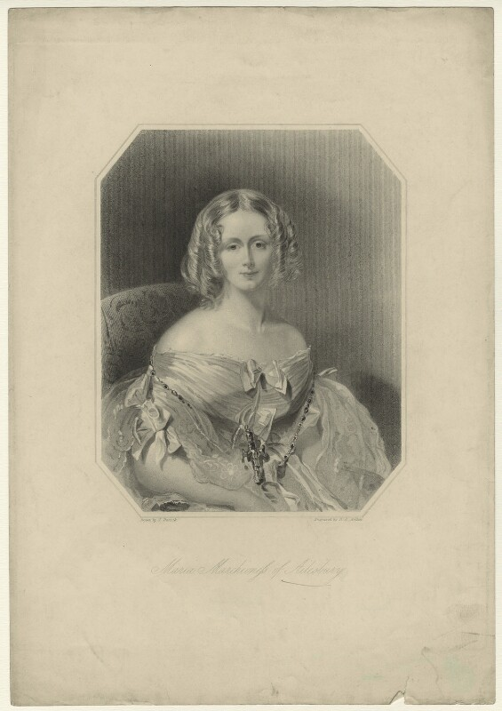Maria Elizabeth (née Tollemache), Marchioness of Ailesbury, by Richard Austin Artlett, after  John Bostock, mid 19th century - NPG D7183 - © National Portrait Gallery, London