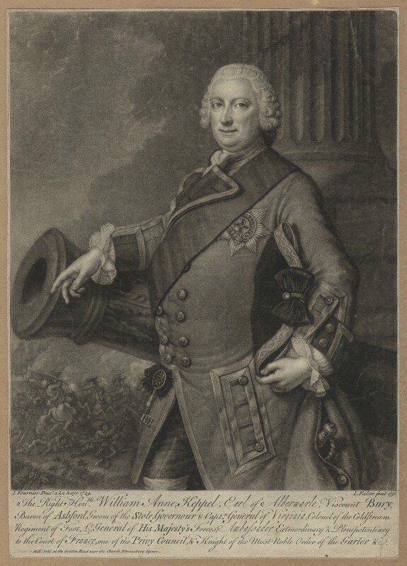 William Anne Keppel, 2nd Earl of Albemarle, by and sold by John Faber Jr, after  J. Fournier, 1751 (1749) - NPG D7195 - © National Portrait Gallery, London