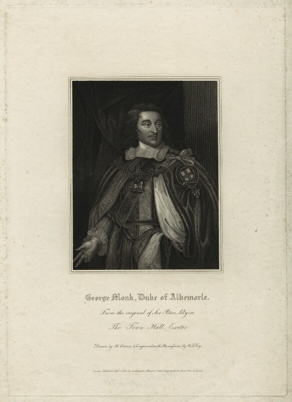 George Monck, 1st Duke of Albemarle, by William Thomas Fry, after  Sir Peter Lely, published 1816 - NPG D7199 - © National Portrait Gallery, London