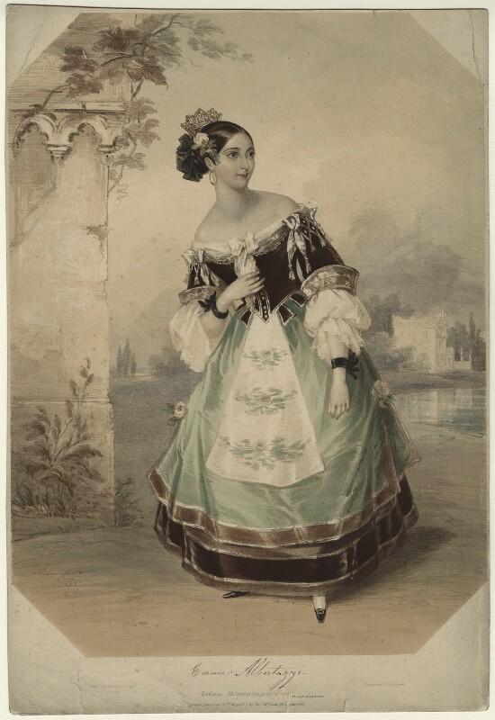 Emma Albertazzi (née Howson) as Zerlina in 'Don Giovanni', by Marie Françoise Catherine Doetter ('Fanny') Corbaux, 1837 - NPG D7304 - © National Portrait Gallery, London