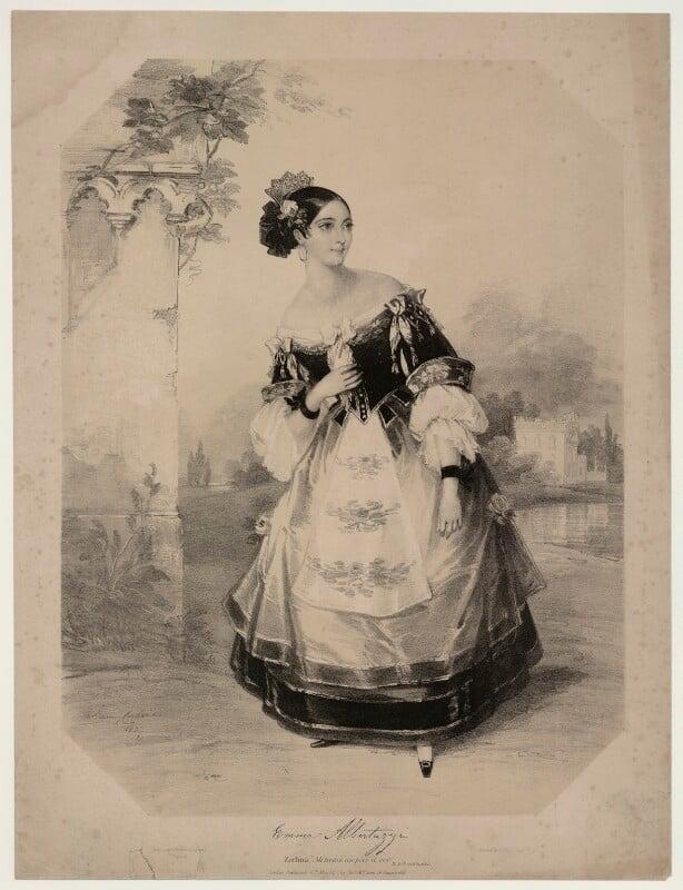 Emma Albertazzi (née Howson) as Zerlina in 'Don Giovanni', by Marie Françoise Catherine Doetter ('Fanny') Corbaux, 1837 - NPG D7306 - © National Portrait Gallery, London