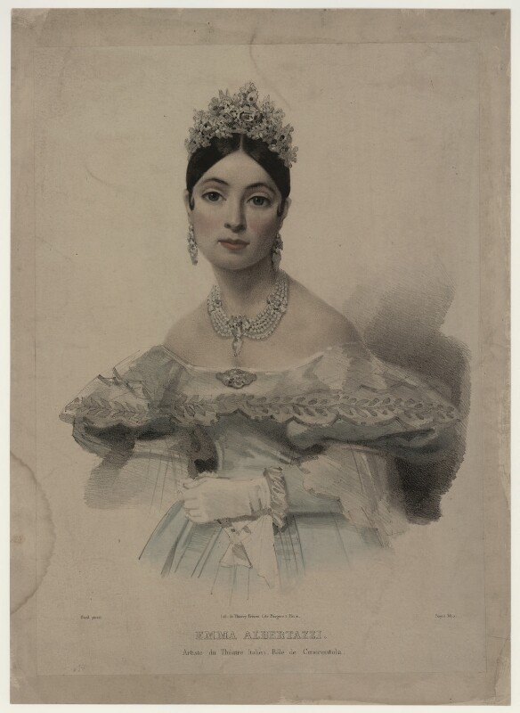 Emma Albertazzi (née Howson) as Cenerentola, by Bayot, after  Bard, 1830s-1840s - NPG D7307 - © National Portrait Gallery, London
