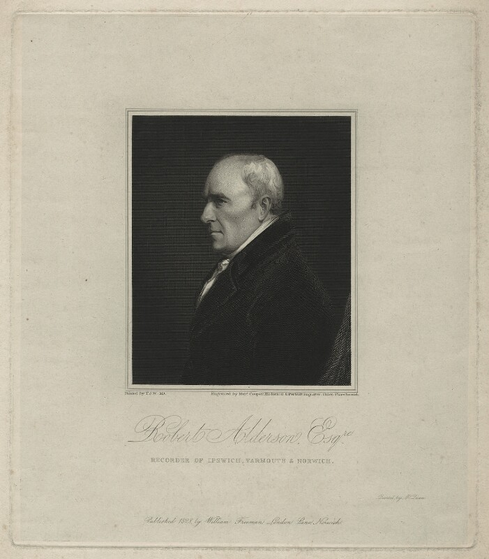 Robert Alderson, by Robert Cooper, printed by  McQueen (Macqueen), published by  William Freeman, after  John Thomas Woodhouse, published 1828 - NPG D7314 - © National Portrait Gallery, London