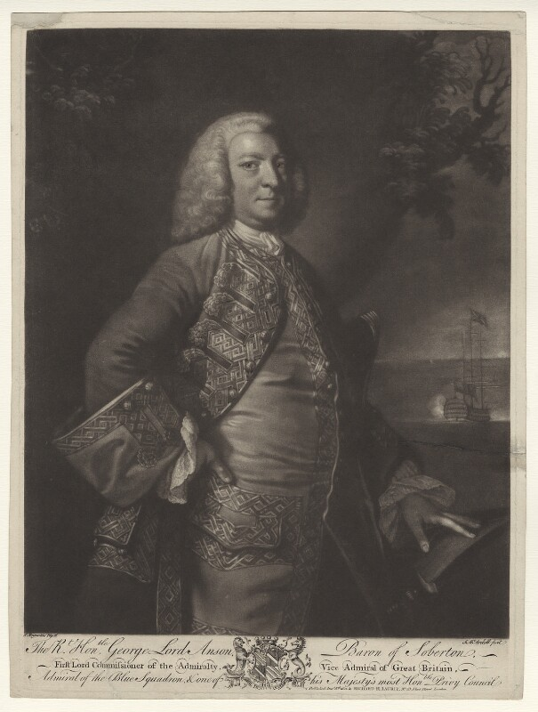 George Anson, 1st Baron Anson, by James Macardell, published by  Richard Holmes Laurie, after  Sir Joshua Reynolds, published 1821 - NPG D738 - © National Portrait Gallery, London
