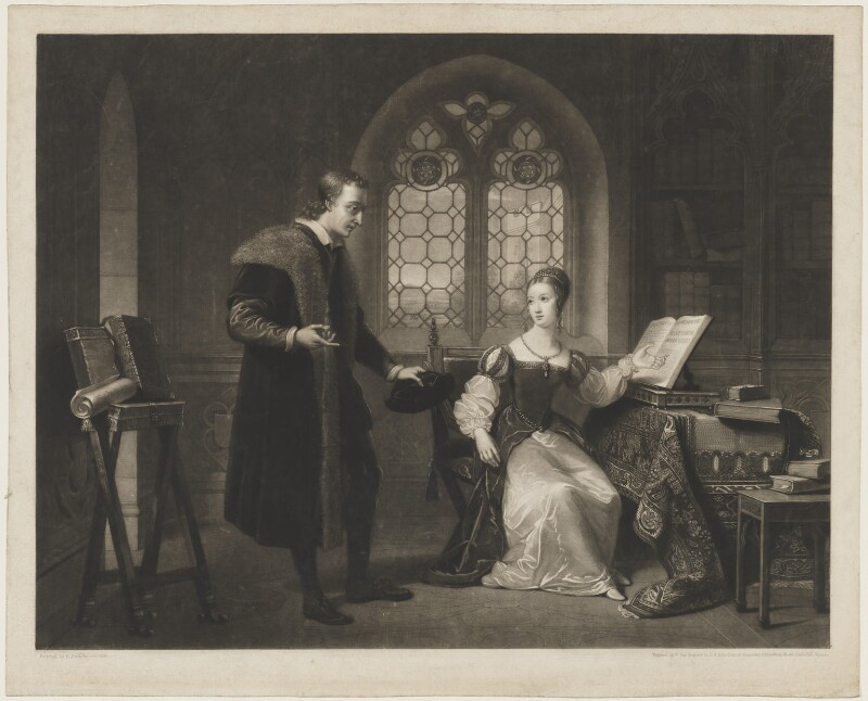 'Interview between Lady Jane Grey and Dr Roger Ascham in the Year 1550', by William Say, after  Henri Jean-Baptiste Victoire Fradelle, published 1825 - NPG D7387 - © National Portrait Gallery, London