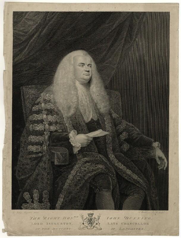 John Dunning, 1st Baron Ashburton, by Francesco Bartolozzi, published by  Thomas Macklin, after  Sir Joshua Reynolds, published 1790 - NPG D7395 - © National Portrait Gallery, London