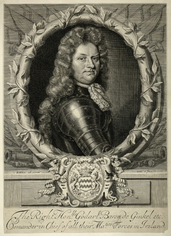 Godard van Reede-Ginckel, 1st Earl of Athlone when Baron de Ginkel, by Robert White, 1692 or before - NPG D7423 - © National Portrait Gallery, London