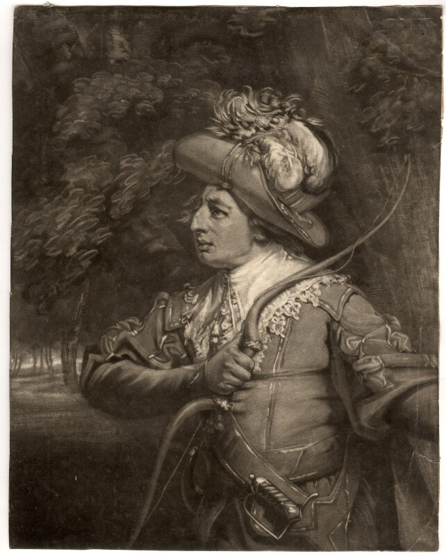 Wright Bowden as Robin Hood, by John Raphael Smith, published 1787 - NPG D743 - © National Portrait Gallery, London