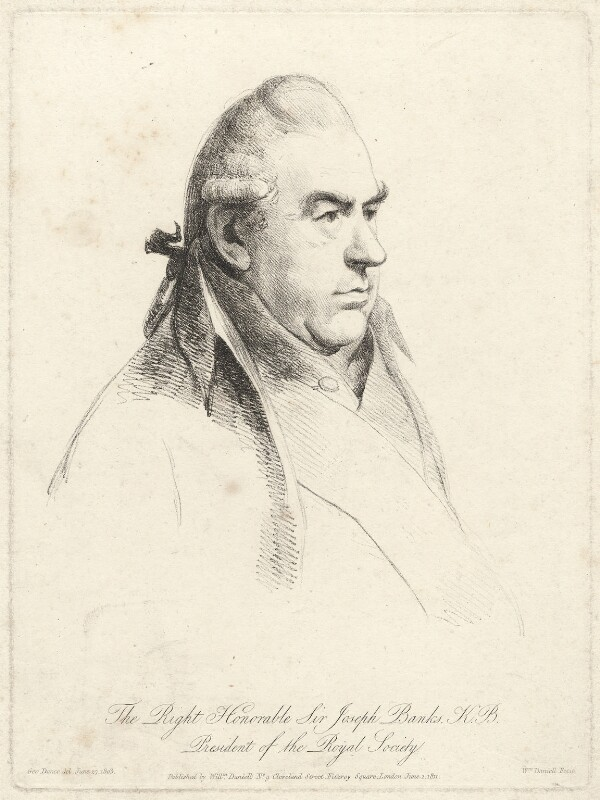 Sir Joseph Banks, Bt, by William Daniell, after  George Dance, published 1 June 1811 (27 June 1803) - NPG D7496 - © National Portrait Gallery, London